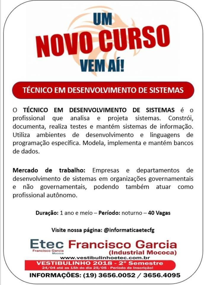 Técnico em Desenvolvimento de Sistemas na Etec Francisco Garcia