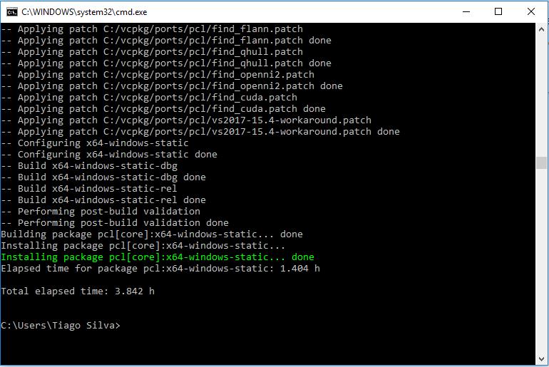 vcpkg para gerenciar pacotes resultado final