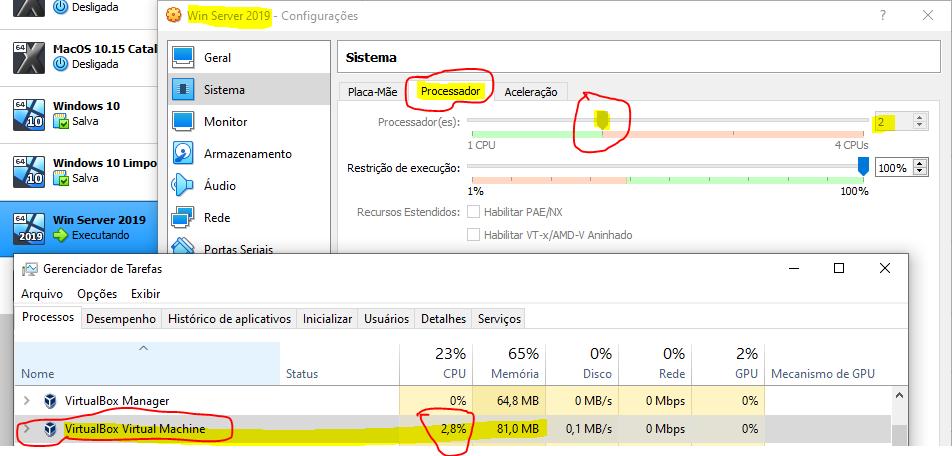 Ajustando a quantidade de processadores da virtualbox
